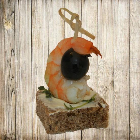 Канапе - Креветка на ржаном хлебе